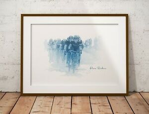 Tour de France - Paris Roubaix watercolour style - cycling Original Poster Print