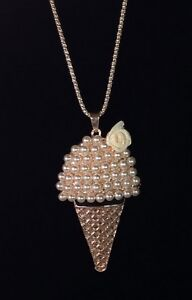 Betsey Johnson Necklace Ice Cream Cone Gold Pearls Gift Box Organza Bag Lk