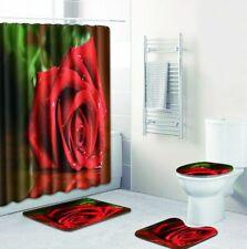 Vivid Flower Decor Shower Curtains Lover Red Rose Valentine's Day Bath Mat Rugs
