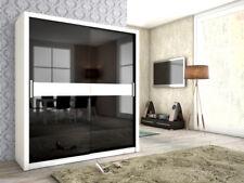 Armoire avec portes coulissantes Brit blanc / Noir HGL + verre 180x200 cm