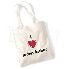 'I love (Heart) James Arthur' Cotton Canvas Reusable Shopping Tote Bag