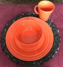 Set of 4 Rachael Ray Double Ridge ORANGE 11\  DINNER Plates With Bowl And & Rachael Ray Plate | eBay