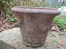"New ListingLarge Weathered Vintage Cement/Concrete Garden Planter Rose Garland 13"" Diameter"