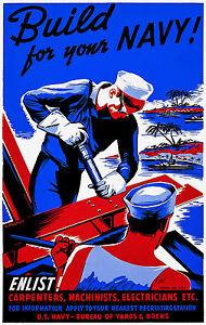 Navy Propaganda Artwork, Old Vintage, Antique Poster, HD Art Print or Canvas