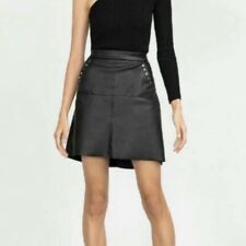 NWT Zara Faux Leather Skirt XS Stud Pocket Detail