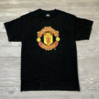 Manchester United Logo Black Short Sleeve Soccer T-Shirt Men's Size S F49