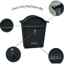 BLACK CLASSIC HUT LETTER/MAIL/POST BOX TRADITIONAL WALL MOUNTED LOCKABLE OUTDOOR