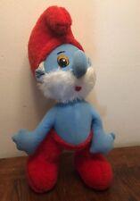 """Rare Smurf Papa Smurf Plush 28"""" Doll Schleich Peyo Italy Rare Vintage 70's"""
