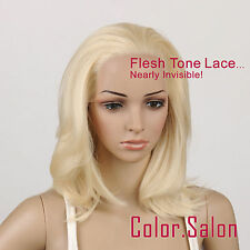 Hand-Tied Flesh Lace Front Synthetic Glueless Wigs Light Golden Blonde 97#613(F)