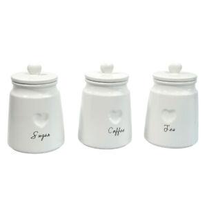 White Tea Coffee Sugar Ceramic Canisters Engrave Heart Storage Jars Set Of 3