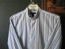 LARGE FIT 16/16.5-34/35 EXPRESS COTTON STRIPE BANDED COLLARLESS WESTERN SHIRT