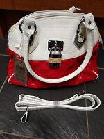 MOVE & MODA LADIES RED & CREAM QUILTED HANDBAG BAG BRAND NEW