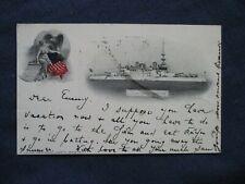 1898 Battleship Oregon Postcard Used Portland Oregon Flag Cancel to Germany