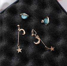 Space Universe Star Moon Stud Earrings Planet Asymmetric Jewelry For Women Girl
