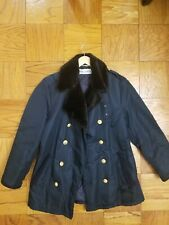 MENS D&G DOLCE & GABBANA BLUE WITH FUR COLLAR MILTARY PEACOAT COAT JACKET 48R