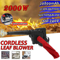 2200/2000W Cordless Blower Leaf Grass Garden 20800mAh Li-ion Battery & Charger