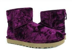 UGG Classic Mini Crushed Velvet Fig Purple Fur Boots Womens Size 11 *NIB*