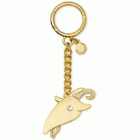 Michael Kors Zodiac Charm Gold-Tone Capricorn Ram Key Chain Crystal $38 NWT