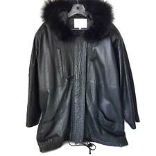 Pano Sereti Womens Leather Jacket XL Black with Fur Trimed Hood
