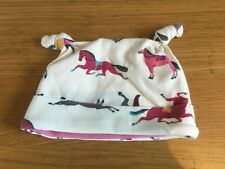 JOULES Horse Print BABY HAT 3 - 6 Months Cream and Pink Pony