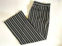 NWT Ann Taylor Loft Womens Wide Leg Elastic Waist Black White Striped Pants L XL