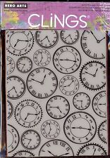 HERO ARTS cling rubber stamp LARGE CLOCK BACKGROUND Time Watches