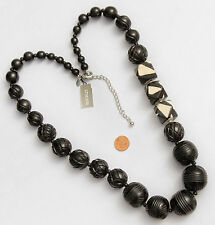 Chico's Signed Long Necklace Chunky Carved Black Ivory Color Beads NWT