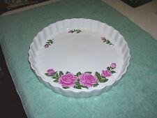 "CHRISTINEHOLM Rose Floral Porcelain QUICHE / PIE / Tart Plate - 9"" Diam."