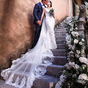 Soft Super LUXURY Bridal VEIL wedding cathedral 2Tier flower lace veil with comb