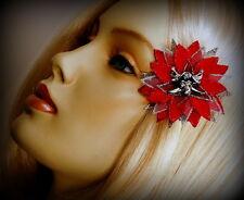 "MINI RED SPARKLE ""PIRATE POINSETTIA"" CLIP, CHRISTMAS HAIR FLOWER"