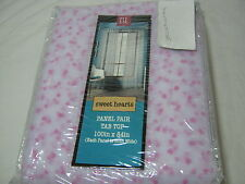 New BL HOME Pink Mini Sweet Hearts FLOCKED NET White Sheer WINDOW Panel 2(50x84)