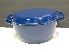 Copco D2 Denmark Enamelware Cast Iron Dutch Oven Pot Casserole Blue Vtg Lid 2.5Q