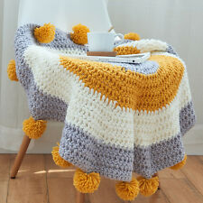 Hand knit multicolor floor rugs wool pom  throw hand crochet thickening sofa mat