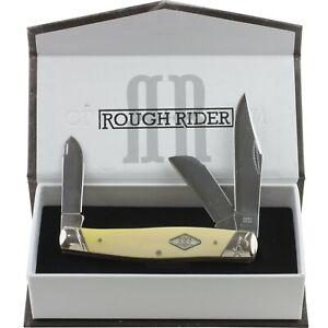 Rough Rider Yellow Stockman Folding Pocket Knife RR1740 Carbon Steel