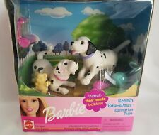Vtg 2001 Barbie Bobbin Bow-Wows Dalmatian Pups Puppy Dogs Bobblehead NIB 67388