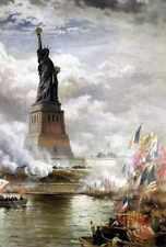 Moran edward inauguration de la statue de la liberté 1886 A4 print