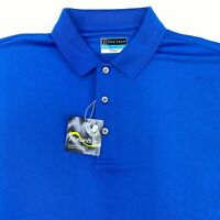 NWT PGA Tour Golf Polo Shirt Men's Large Short Sleeve Blue AirFlux Polyester