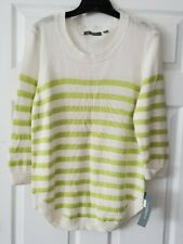 NWT NY Collection Womens Green/White Striped Casual Sweater Top Plus Size 2X
