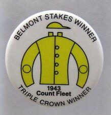 BELMONT STAKES Jockey Colors 1943 Count Fleet TRIPLE CROWN WINNER Pinback ^