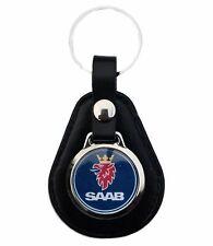 Saab Blau Logo Schlüsselanhänger aus Leder