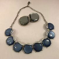 Vintage Necklace Moonglow Blue Circles & Gray Circle Clip-On Earrings Set 1950's