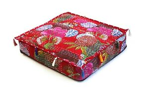 """Indian Handmade Kantha Ottoman Pouf Cover Cotton Square Floor Cushion 30"""" Large"""
