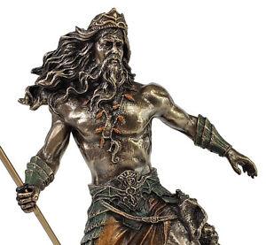 "8 1/4""Poseidon Holding Trident GREEK MYTHOLOGY God of Sea Statue Bronze Color"