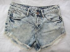 NEW LOOK Bleached Low Rise Blue Frayed Distressed Denim SHORTS Hot Pants UK 6