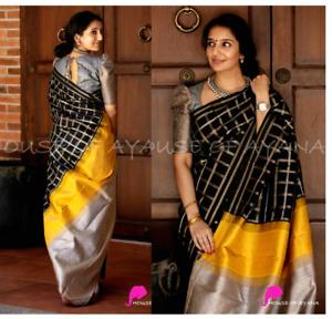 Indian silk saree ethnic wear black wedding formal pakistani designer party sari