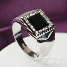 18K White Gold Plated Simulated Agate Black Classic Square Shaped Men`s Ring