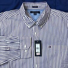 Tommy Hilfiger Blue White Striped Button 80s 2 Ply Shirt Mens Size XL NEW $65