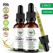 2 Pack Organic Hemp Oil  for Pain Relief,Anxiety,Reduce Stress,Sleep,Mood 1000mg