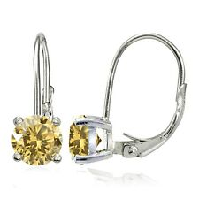 925 Sterling Silver 1.5ct TGW Citrine 6mm Round Leverback Earrings