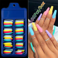 100pcs Coffin Nail False Tips Candy Color Clear Fake Fingernails Artifical Tools
